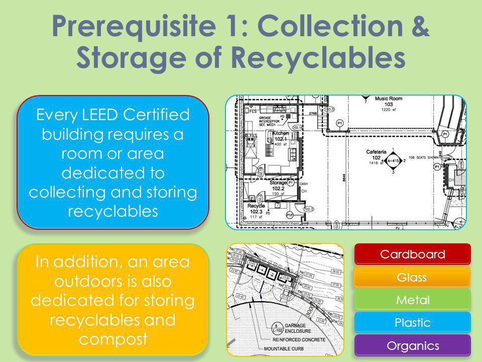 Prerequisite 1: Collection & Storage of Recyclables Every LEED Certified building requires a room or area dedicated to collecting and storing recyclab