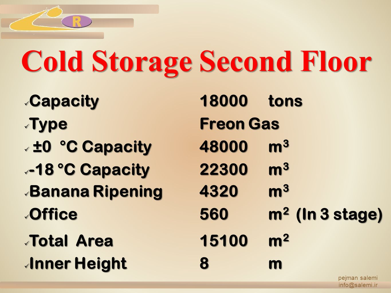 Cold Storage Second Floor Capacity18000tons TypeFreon Gas ± ±0 °C Capacity48000m3 -18 °C Capacity22300m3 Banana Ripening4320m3 Office560m2 ( ( ( (In 3