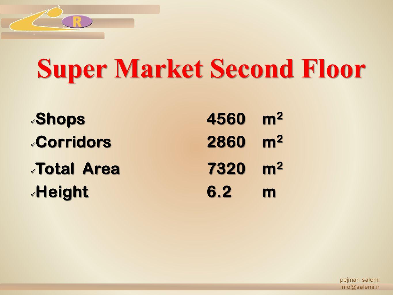 Super Market Second Floor Shops 4560m 2 Shops 4560m 2 Corridors2860m 2 Corridors2860m 2 Total Area 7320m 2 Total Area 7320m 2 Height6.2 m Height6.2 m pejman salemi info@salemi.ir
