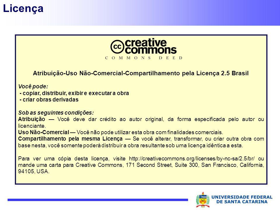 Licença Atribuição-Uso Não-Comercial-Compartilhamento pela Licença 2.5 Brasil Você pode: - copiar, distribuir, exibir e executar a obra - criar obras