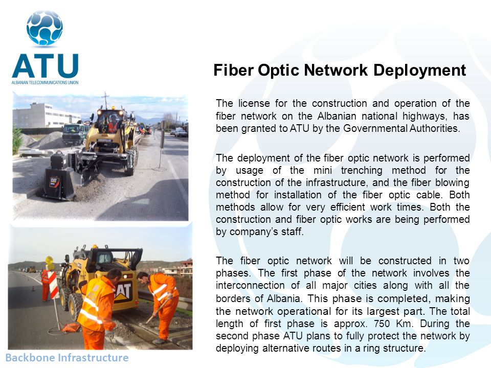 The license for the construction and operation of the fiber network on the Albanian national highways, has been granted to ATU by the Governmental Authorities.