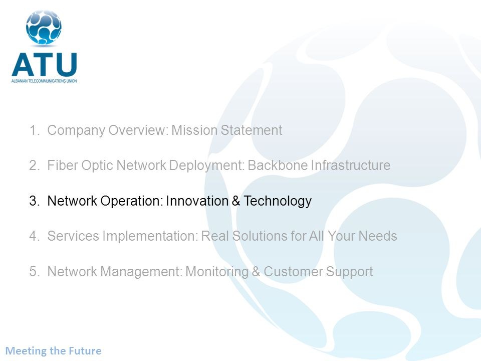 1.Company Overview: Mission Statement 2.Fiber Optic Network Deployment: Backbone Infrastructure 3.Network Operation: Innovation & Technology 4.Services Implementation: Real Solutions for All Your Needs 5.Network Management: Monitoring & Customer Support Meeting the Future
