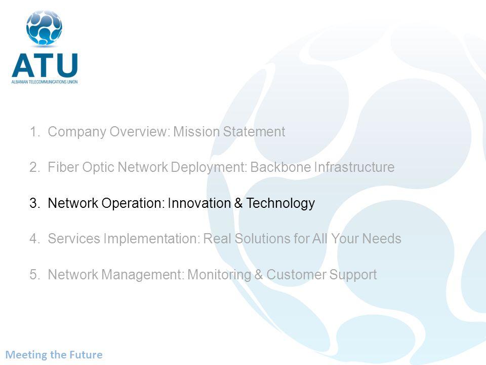 1.Company Overview: Mission Statement 2.Fiber Optic Network Deployment: Backbone Infrastructure 3.Network Operation: Innovation & Technology 4.Service