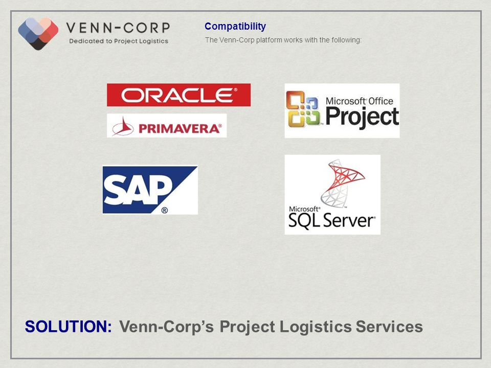The Venn-Corp platform works with the following: Compatibility SOLUTION: Venn-Corps Project Logistics Services