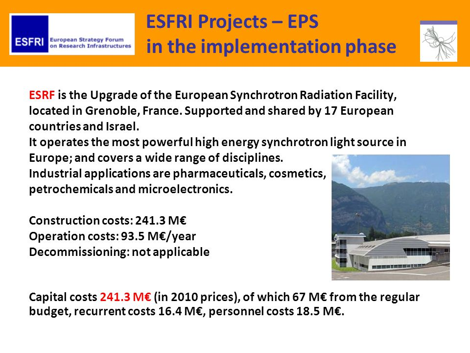 ESFRI Projects – EPS in the implementation phase ESRF is the Upgrade of the European Synchrotron Radiation Facility, located in Grenoble, France.