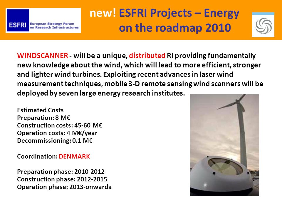 new! ESFRI Projects – Energy on the roadmap 2010 WINDSCANNER - will be a unique, distributed RI providing fundamentally new knowledge about the wind,
