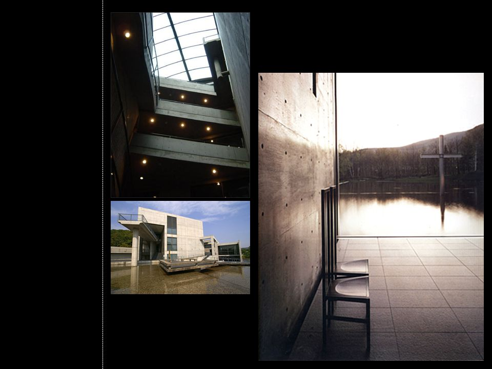 Three equally sized rectangular volumes: Two enclosed volumes of interior spaces separated by an open courtyard.