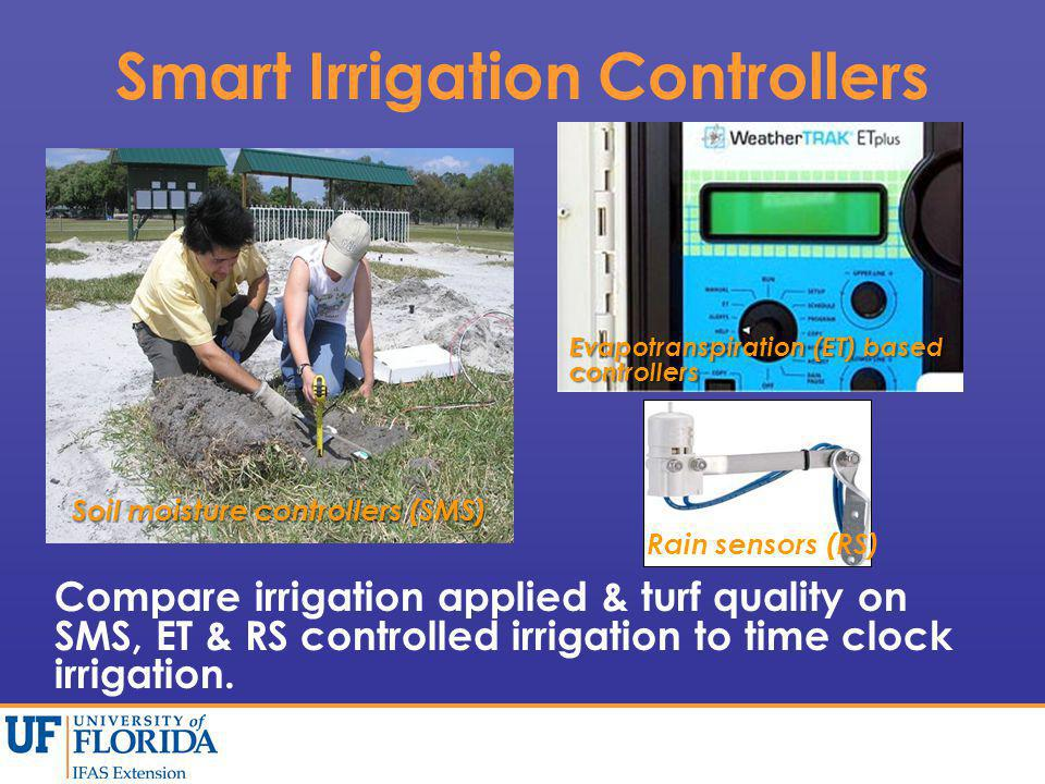 Smart Irrigation Controllers Compare irrigation applied & turf quality on SMS, ET & RS controlled irrigation to time clock irrigation.