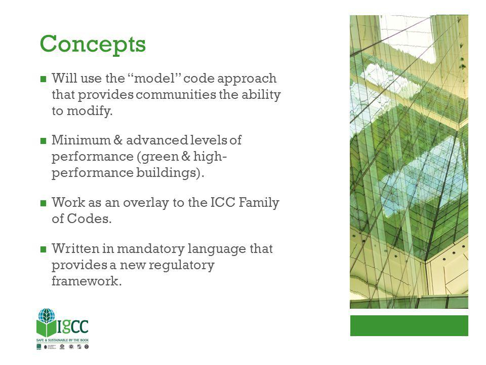 Concepts Will use the model code approach that provides communities the ability to modify.