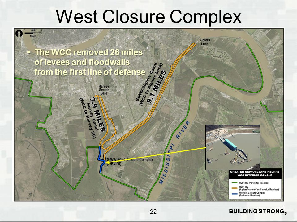 BUILDING STRONG ® West Closure Complex The WCC removed 26 miles of levees and floodwalls from the first line of defense The WCC removed 26 miles of le