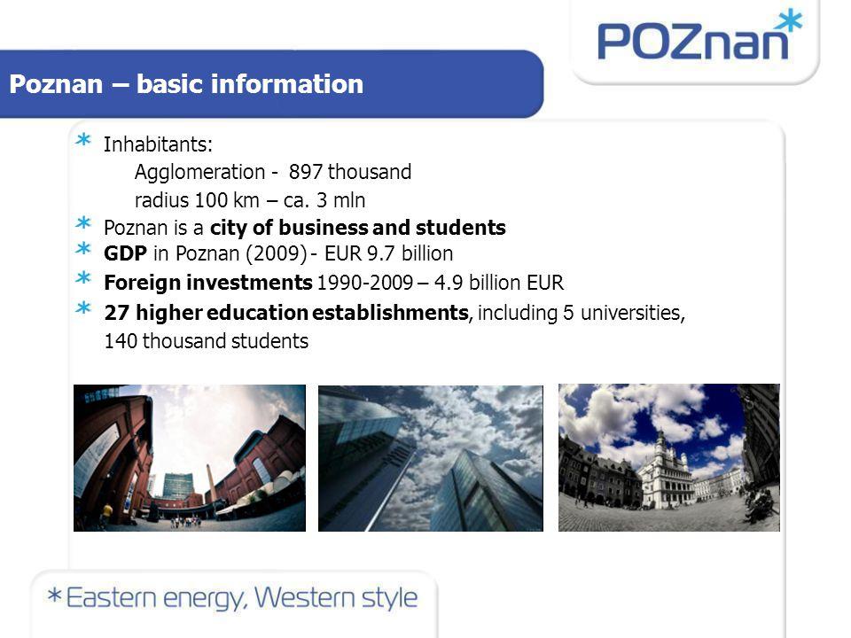 Poznan – basic information Inhabitants: Agglomeration - 897 thousand radius 100 km – ca.