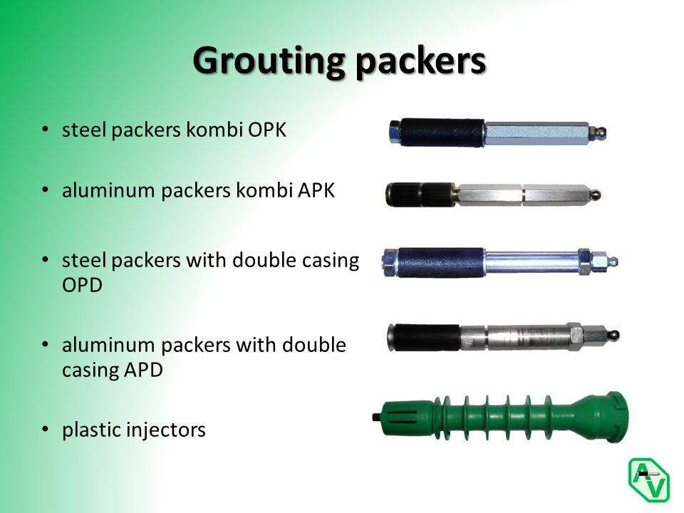 Grouting packers steel packers kombi OPK aluminum packers kombi APK steel packers with double casing OPD aluminum packers with double casing APD plastic injectors