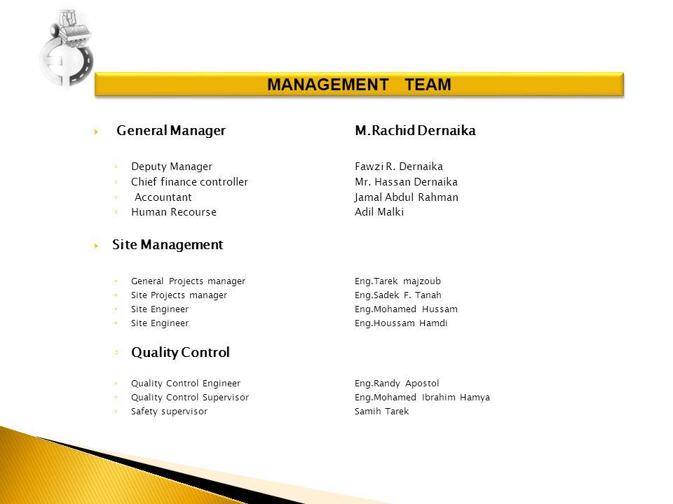 General ManagerM.Rachid Dernaika Deputy Manager Fawzi R.
