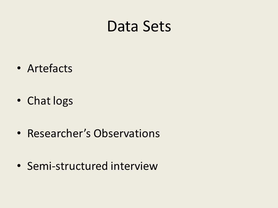 Data Sets Artefacts Chat logs Researchers Observations Semi-structured interview
