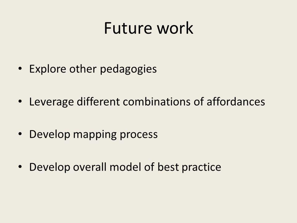 Future work Explore other pedagogies Leverage different combinations of affordances Develop mapping process Develop overall model of best practice