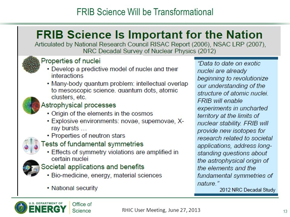 13 FRIB Science Will be Transformational RHIC User Meeting, June 27, 2013