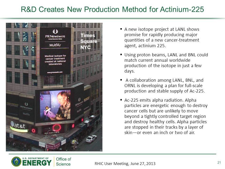 Times Square NYC R&D Creates New Production Method for Actinium-225 21 A new isotope project at LANL shows promise for rapidly producing major quantities of a new cancer-treatment agent, actinium 225.