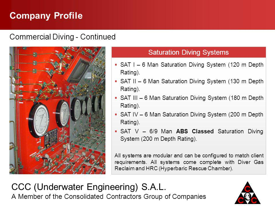 CCC (Underwater Engineering) S.A.L. A Member of the Consolidated Contractors Group of Companies Company Profile Commercial Diving - Continued Saturati