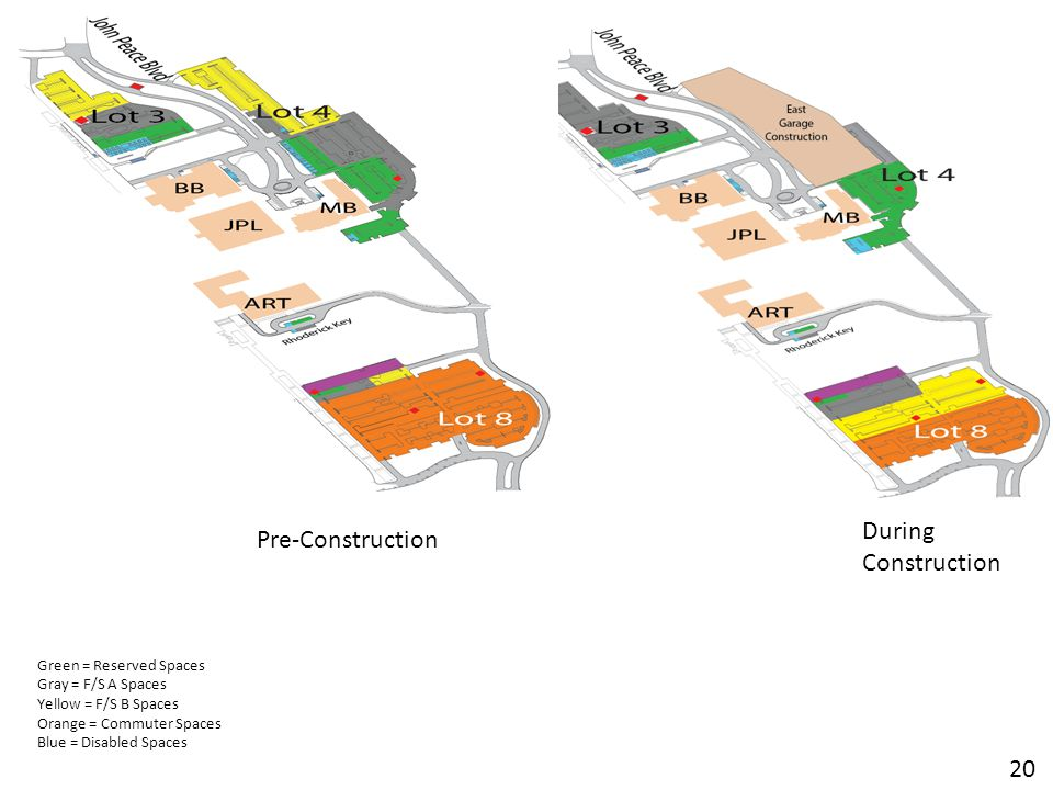 During Construction Green = Reserved Spaces Gray = F/S A Spaces Yellow = F/S B Spaces Orange = Commuter Spaces Blue = Disabled Spaces 20