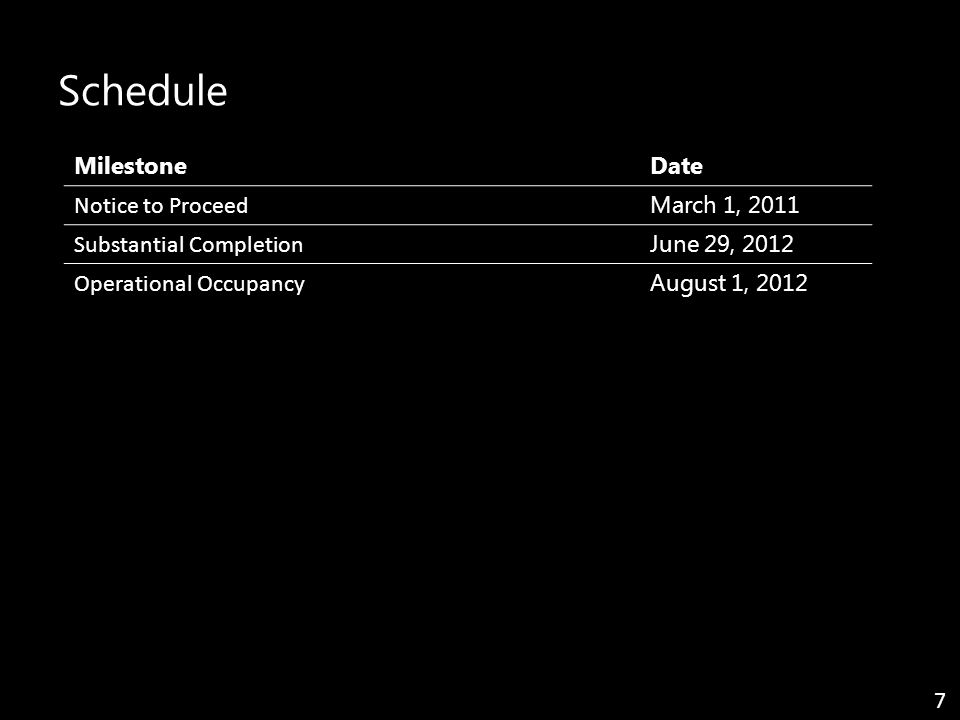 Schedule MilestoneDate Notice to Proceed March 1, 2011 Substantial Completion June 29, 2012 Operational Occupancy August 1, 2012 7