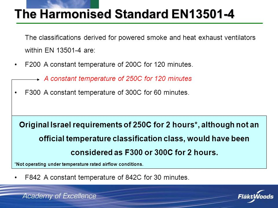 The Harmonised Standard EN13501-4 The classifications derived for powered smoke and heat exhaust ventilators within EN 13501-4 are: F200 A constant temperature of 200C for 120 minutes.