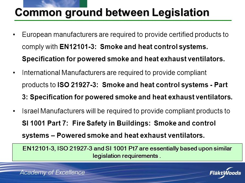 Common ground between Legislation European manufacturers are required to provide certified products to comply with EN12101-3: Smoke and heat control systems.