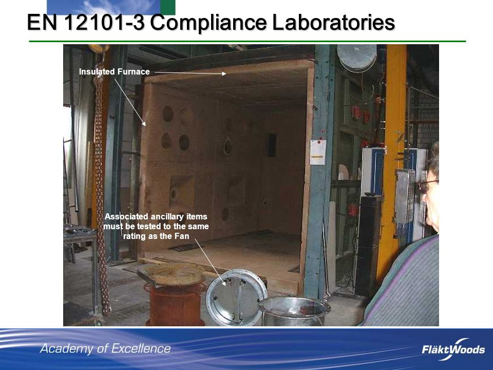 EN 12101-3 Compliance Laboratories Insulated Furnace Associated ancillary items must be tested to the same rating as the Fan