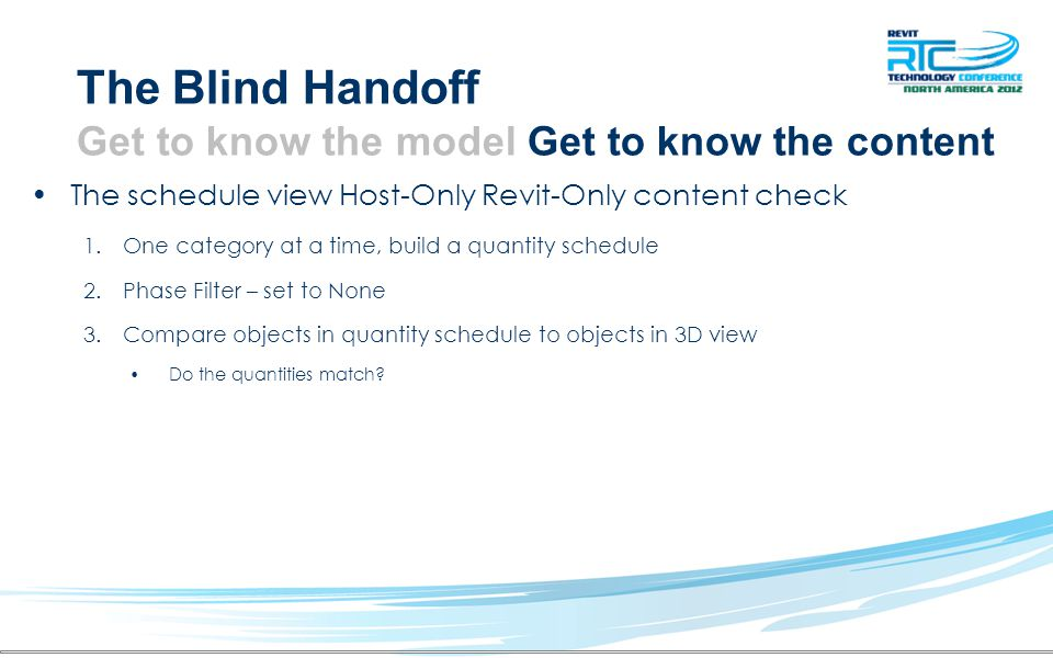 The Blind Handoff Get to know the model Get to know the content The schedule view Host-Only Revit-Only content check 1.One category at a time, build a