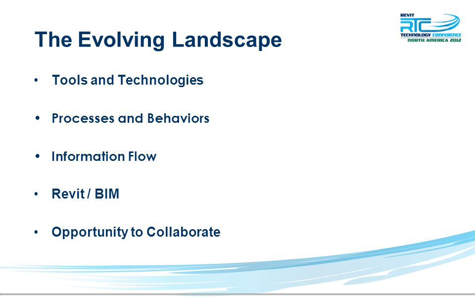 The Evolving Landscape Tools and Technologies Processes and Behaviors Information Flow Revit / BIM Opportunity to Collaborate