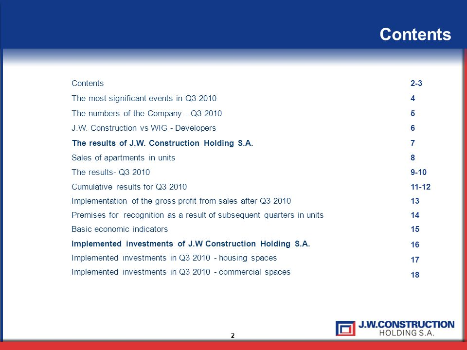 13 Implementation of the gross profit from sales after Q3 2010 The level of gross profit from sales after Q3 2010 is equal to PLN 136,400,000 The main percentage was in the following investments: Recognized flats in the cumulative results for Q3 2010 with a comparison to the corresponding period the previous year: