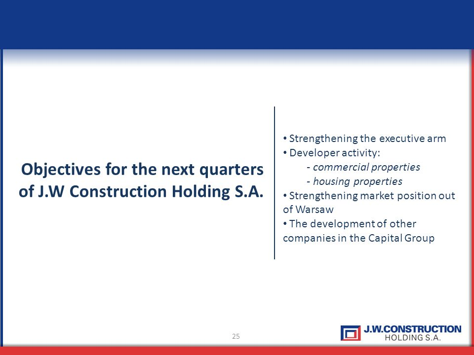 25 Objectives for the next quarters of J.W Construction Holding S.A.