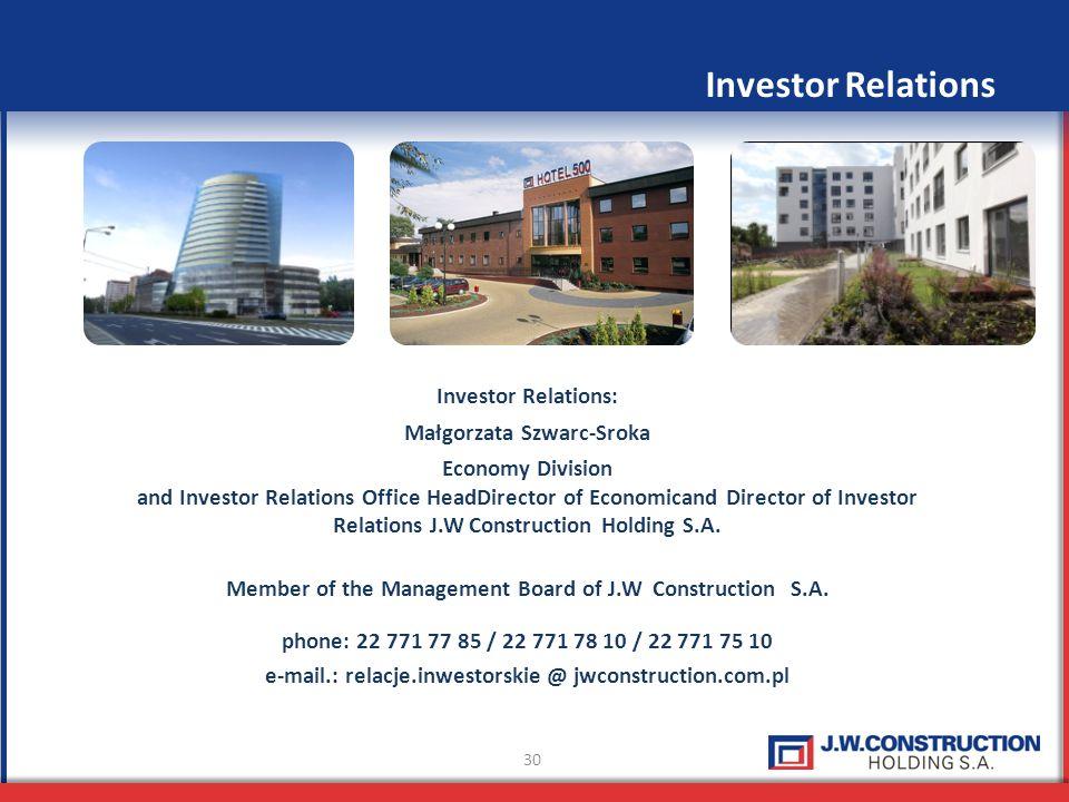 30 Investor Relations: Małgorzata Szwarc-Sroka Economy Division and Investor Relations Office HeadDirector of Economicand Director of Investor Relatio