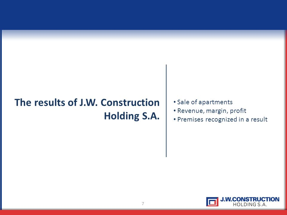 7 The results of J.W. Construction Holding S.A.