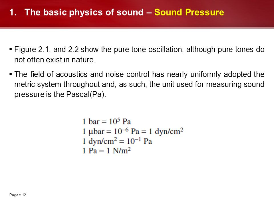 Page 12 1.The basic physics of sound – Sound Pressure Figure 2.1, and 2.2 show the pure tone oscillation, although pure tones do not often exist in na