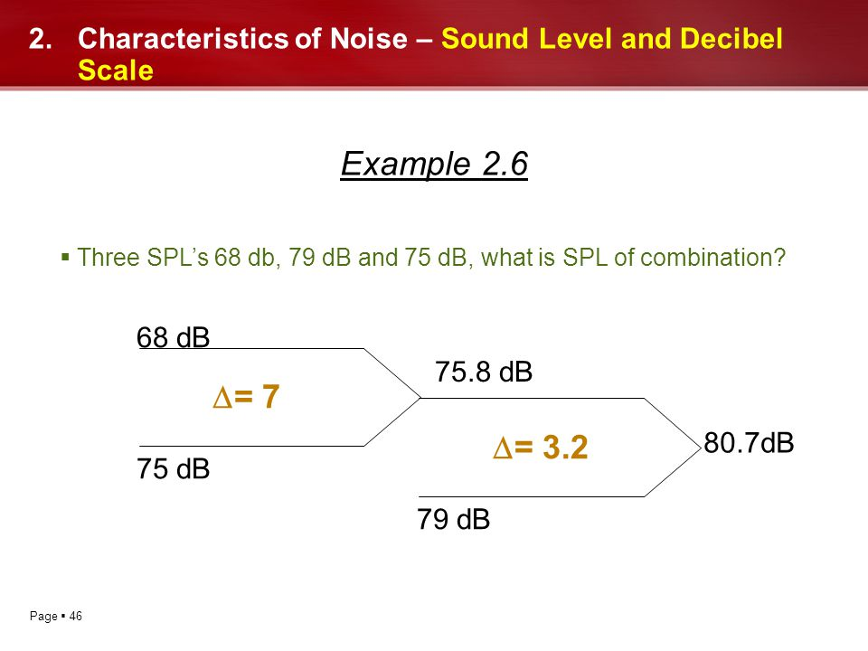 Page 46 2.Characteristics of Noise – Sound Level and Decibel Scale Example 2.6 Three SPLs 68 db, 79 dB and 75 dB, what is SPL of combination? 68 dB 75