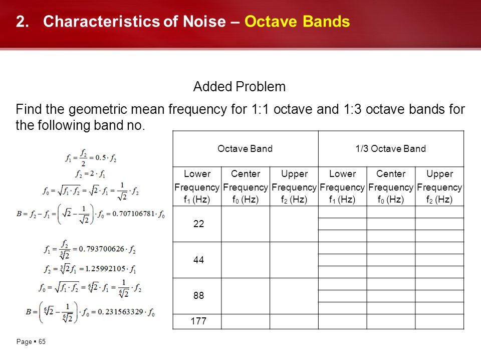 Page 65 Added Problem Find the geometric mean frequency for 1:1 octave and 1:3 octave bands for the following band no. 2.Characteristics of Noise – Oc
