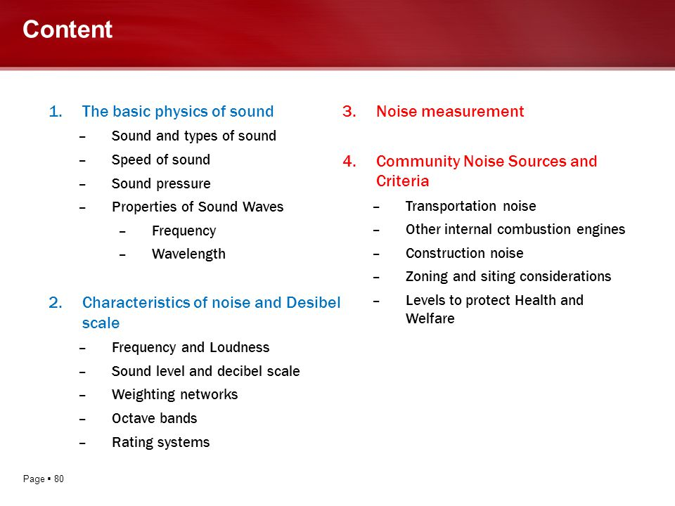Page 80 Content 1.The basic physics of sound –Sound and types of sound –Speed of sound –Sound pressure –Properties of Sound Waves –Frequency –Waveleng