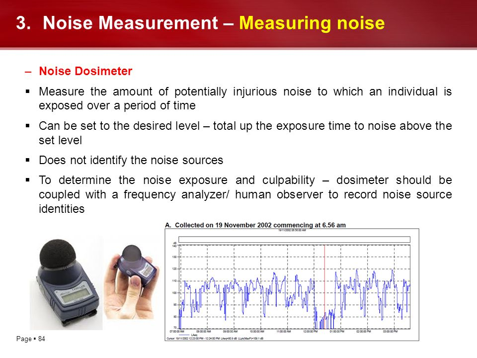 Page 84 3.Noise Measurement – Measuring noise –Noise Dosimeter Measure the amount of potentially injurious noise to which an individual is exposed ove
