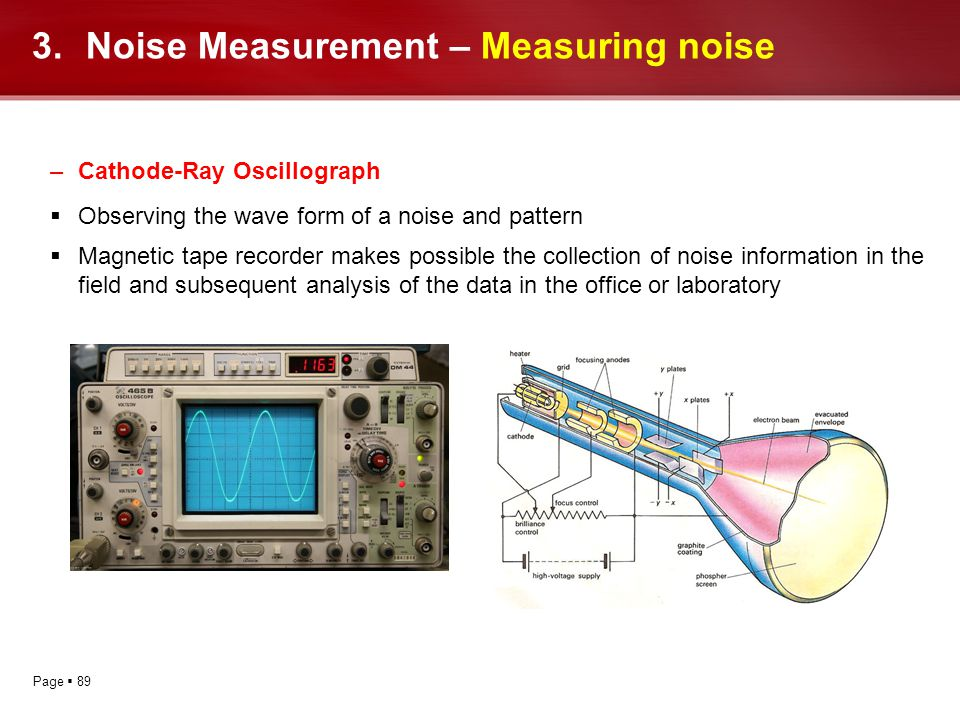 Page 89 –Cathode-Ray Oscillograph Observing the wave form of a noise and pattern Magnetic tape recorder makes possible the collection of noise informa