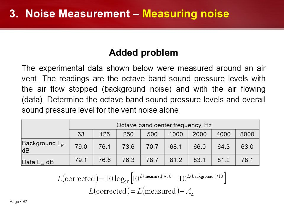 Page 92 Added problem The experimental data shown below were measured around an air vent. The readings are the octave band sound pressure levels with