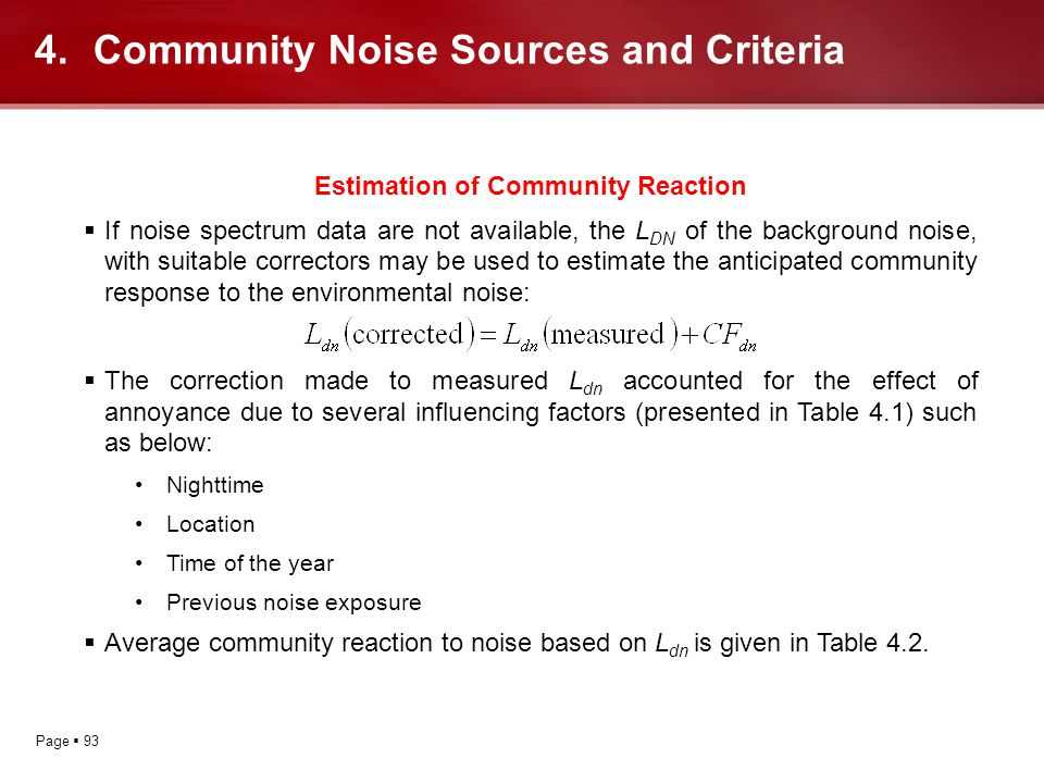 Page 93 Estimation of Community Reaction If noise spectrum data are not available, the L DN of the background noise, with suitable correctors may be u