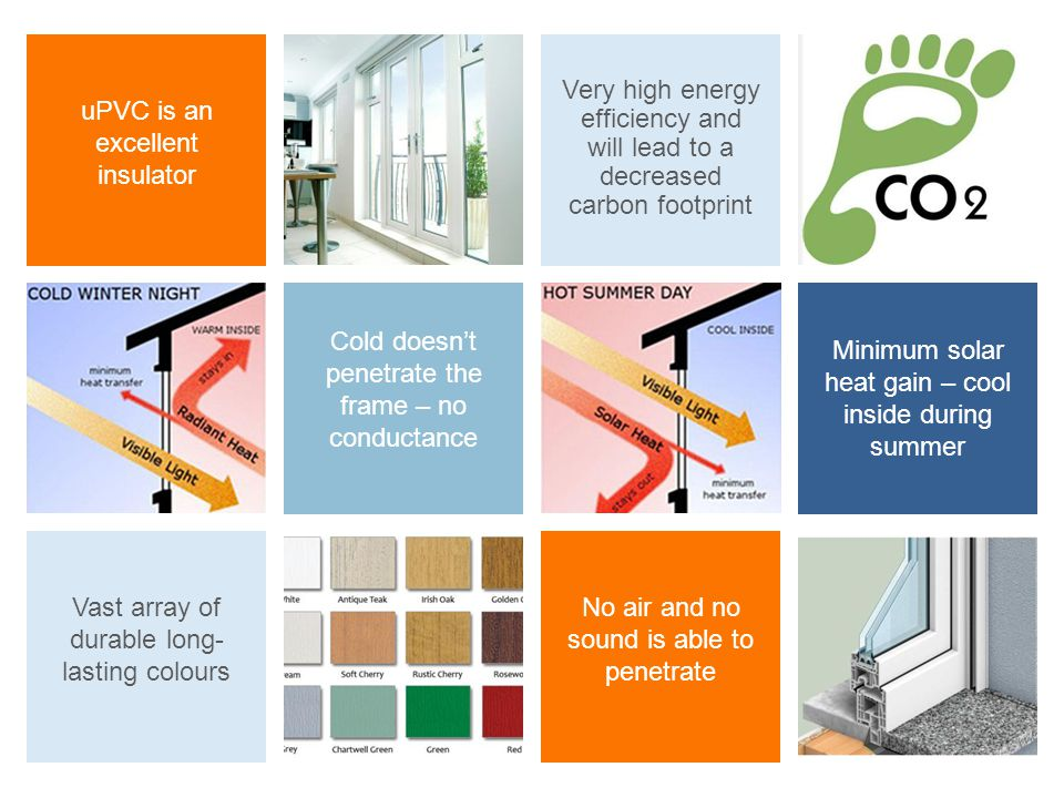 No air and no sound is able to penetrate Very high energy efficiency and will lead to a decreased carbon footprint uPVC is an excellent insulator Cold doesnt penetrate the frame – no conductance Minimum solar heat gain – cool inside during summer Vast array of durable long- lasting colours