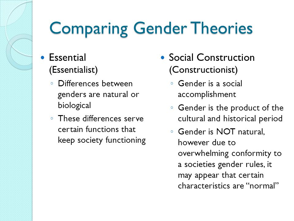 Comparing Gender Theories Essential (Essentialist) Differences between genders are natural or biological These differences serve certain functions that keep society functioning Social Construction (Constructionist) Gender is a social accomplishment Gender is the product of the cultural and historical period Gender is NOT natural, however due to overwhelming conformity to a societies gender rules, it may appear that certain characteristics are normal