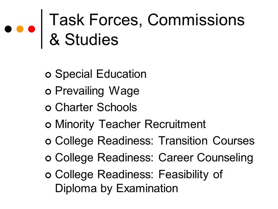 Task Forces, Commissions & Studies Special Education Prevailing Wage Charter Schools Minority Teacher Recruitment College Readiness: Transition Course
