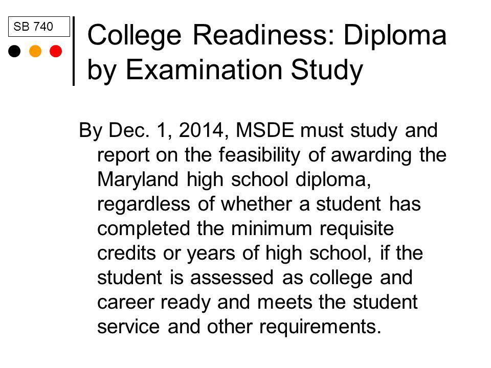 College Readiness: Diploma by Examination Study By Dec.