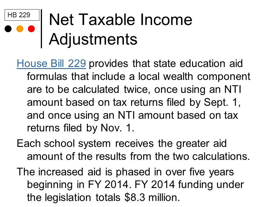 Net Taxable Income Adjustments House Bill 229House Bill 229 provides that state education aid formulas that include a local wealth component are to be calculated twice, once using an NTI amount based on tax returns filed by Sept.