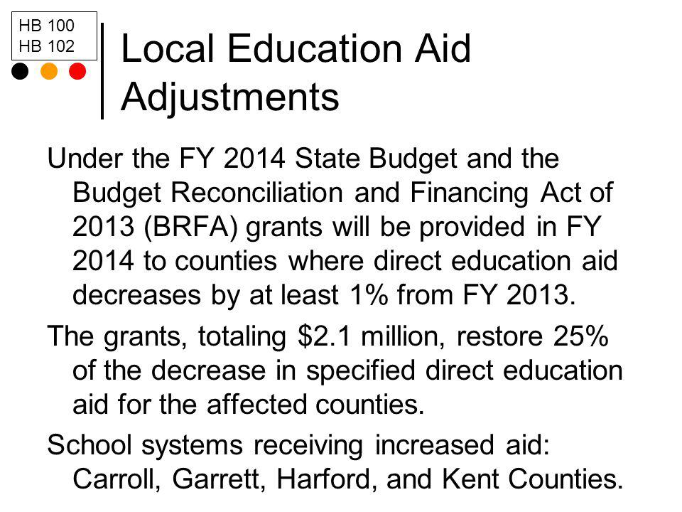Local Education Aid Adjustments Under the FY 2014 State Budget and the Budget Reconciliation and Financing Act of 2013 (BRFA) grants will be provided in FY 2014 to counties where direct education aid decreases by at least 1% from FY 2013.