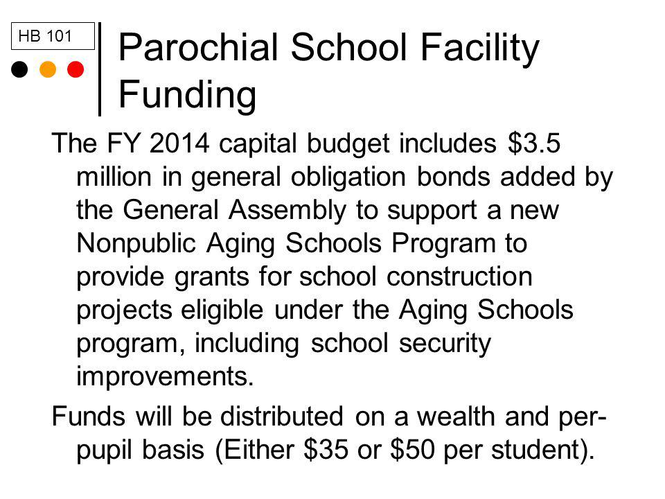 Parochial School Facility Funding The FY 2014 capital budget includes $3.5 million in general obligation bonds added by the General Assembly to suppor