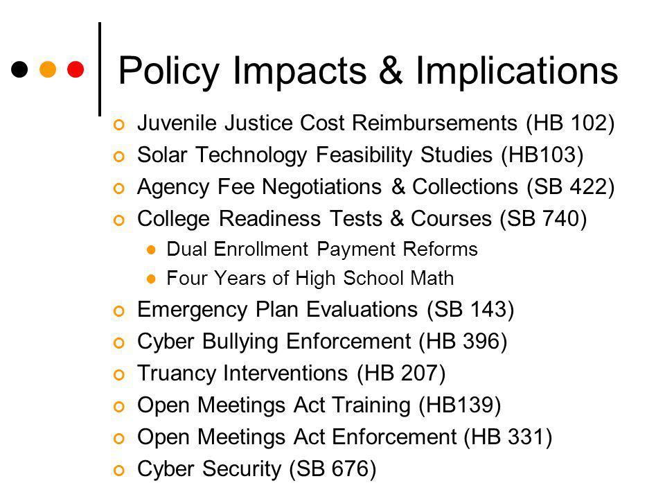 Policy Impacts & Implications Juvenile Justice Cost Reimbursements (HB 102) Solar Technology Feasibility Studies (HB103) Agency Fee Negotiations & Collections (SB 422) College Readiness Tests & Courses (SB 740) Dual Enrollment Payment Reforms Four Years of High School Math Emergency Plan Evaluations (SB 143) Cyber Bullying Enforcement (HB 396) Truancy Interventions (HB 207) Open Meetings Act Training (HB139) Open Meetings Act Enforcement (HB 331) Cyber Security (SB 676)
