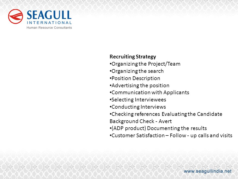 Recruiting Strategy Organizing the Project/Team Organizing the search Position Description Advertising the position Communication with Applicants Sele